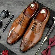 Handmade Men Tan Burnished Two Tone Toe Brogues Dress/Formal Leather Oxford Shoe image 3