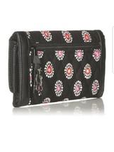 Vera bradley women parisian pompoms trifold wallet black - $33.15