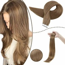 RUNATURE 14inches Tape Real Hair Extensions Color 6 Chestnut Brown 40gram 20Piec image 1