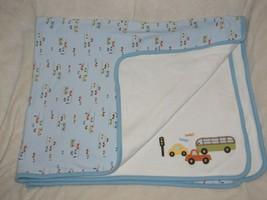 Gymboree Beep Beep Baby Boy Blue Taxi Cab Truck Bus Car Vehicle Blanket Cotton - $49.48
