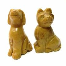 SatinCrystals Animal Set Collectible Mustard Yellow Jasper Cat & Dog Sto... - $49.50