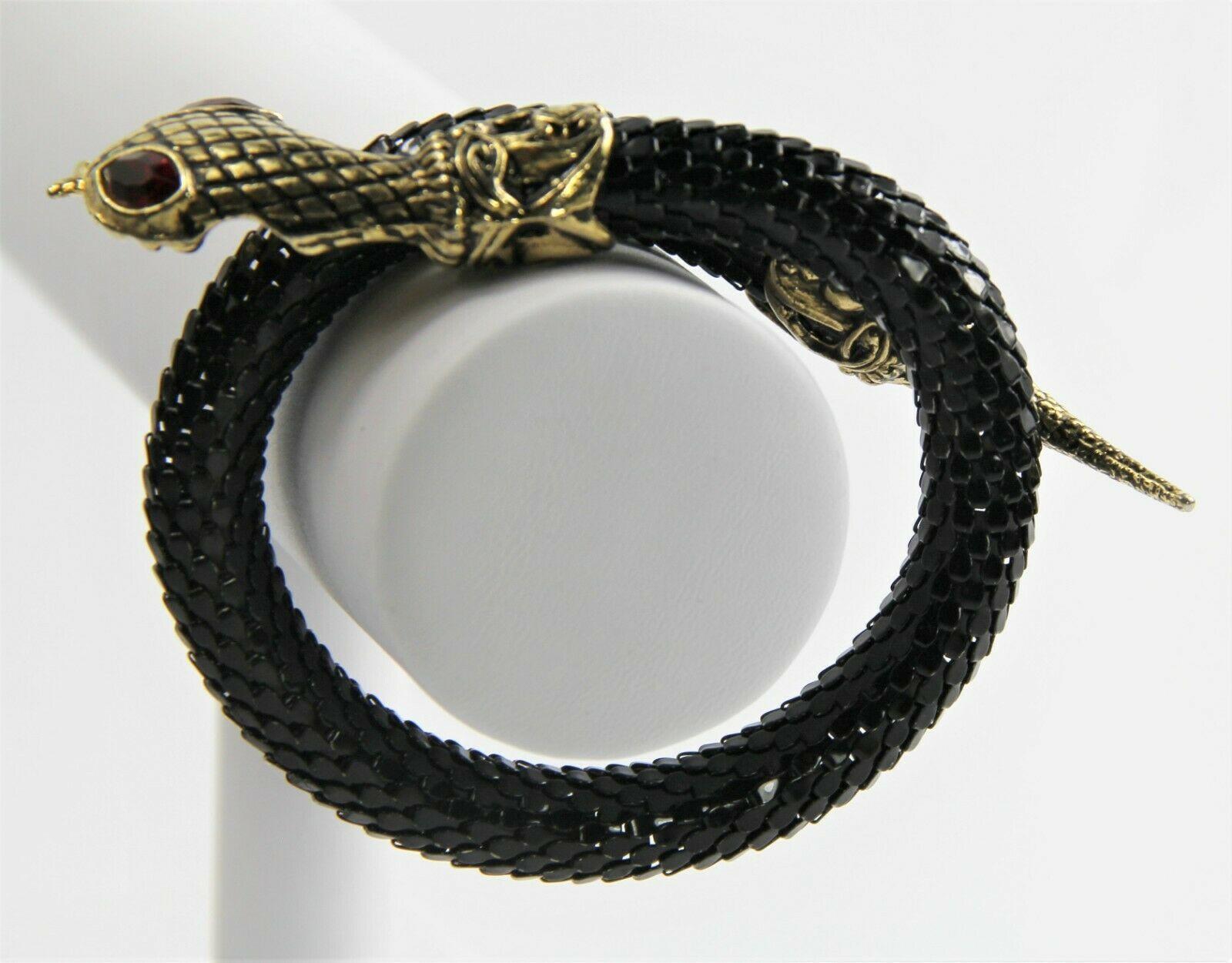 """7.5"""" ESTATE VINTAGE Jewelry BLACK MESH SNAKE BYPASS BRACELET"""