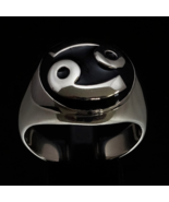 \Dome shaped Sterling silver Zodiac ring Cancer Horoscope symbol with Black enam - $99.00