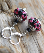 Murano Floral earrings, Lampwork Glass Earrings, Flowers Lampwork, E221 - $11.99