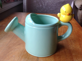 Teleflora Gift Ceramic Blue Water Pitcher Flower Pot Planter W/YELLOW Chick - $12.09