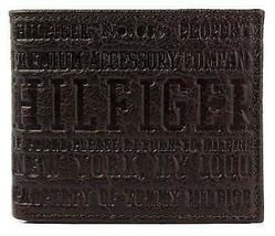 NEW TOMMY HILFIGER MEN'S PREMIUM LEATHER COIN WALLET YEN BILLFOLD BROWN 5647/02 image 3