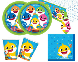 Baby shark birthday paper party supplies tableware set plates cups foil balloon - $3.86+