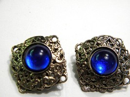 Vintage Brass Square Clip On Earrings with Blue Cabochons Beautiful - $11.39