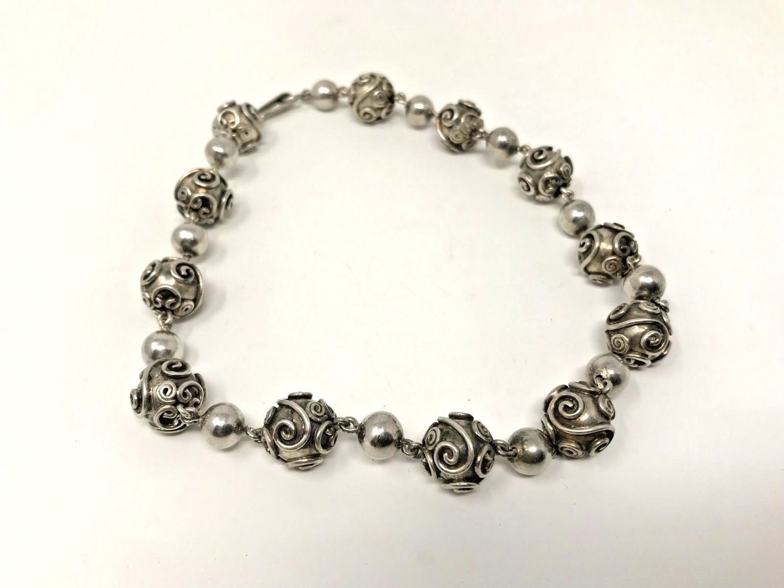 """C1950's Carmen Beckmann Sterling 15.5"""" Bead Necklace, Mid-Century Taxco"""