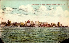 VINTAGE POSTCARD- SKYSCRAPERS ON WATER FRONT OF NORTH RIVER, NY   BK21 - $2.94