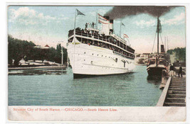 Steamer City of South Haven Chicago IL South Haven Line 1908 postcard - $6.44