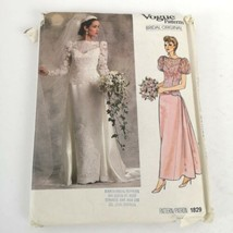 Vogue Pattern 1829 Wedding Dress Bridal Original Sz 10 Uncut Vintage 80s - $16.99