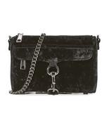 NWT Rebecca Minkoff Black Velvet Leather Mini MAC Crossbody Clutch - $164.50