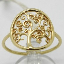 18K YELLOW GOLD TREE OF LIFE RING, SMOOTH, BRIGHT, LUMINOUS, MADE IN ITALY image 1