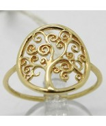 18K YELLOW GOLD TREE OF LIFE RING, SMOOTH, BRIGHT, LUMINOUS, MADE IN ITALY - $253.00