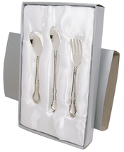 3 PIECE SILVER PLATED FEEDING SET IN SATIN-LINED GIFT BOX - $33.55