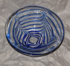MMA Metropolitan Museum of Art Glass Bowl Cobalt Blue Pulled Drape Signed  - $24.74