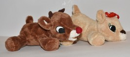 "Plush Rudolph The Red Nosed Reindeer & Girlfriend Clarice Deer Small 7"" ... - $13.99"