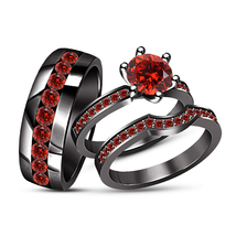 14K Black Gold Finish Red Garnet His & Hers Bridal Band Wedding Trio Rin... - $163.98