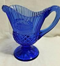 Fostoria Avon Cobalt Blue Glass George Washington Mt Vernon Creamer Pitcher - $24.99