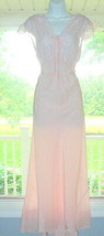 Vintage 1940's Pink Nightgown Lingerie Bias Gown soft Silky Sz Lg XL BEA... - $74.24