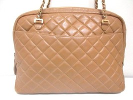 80's Vintage CHANEL brown lambskin large classic bag with double golden chain st - $1,020.00