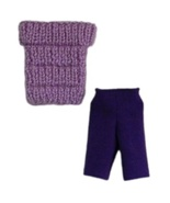 Barbie Doll Clothes Knit Purple Off Shoulder Top and Biker Shorts Handmade - $7.49