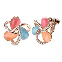 Yoursfs Clip Earrings For Non Pierced Ears 18k White/Rose Gold Plated Fa... - $17.48