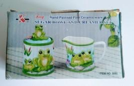 2 Piece FROG DESIGN Sugar Bowl and Creamer Set Ceramic Hand Painted  - $23.28