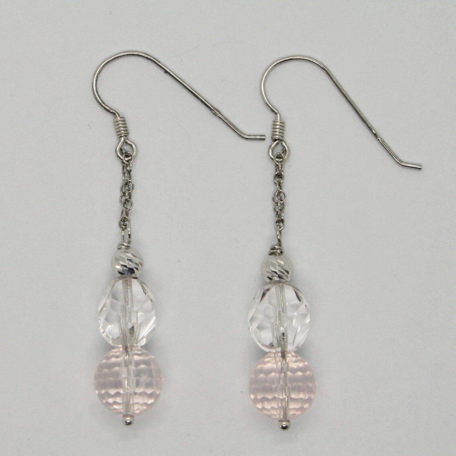 Earrings Silver 925 Rhodium Dangle Pink Quartz Faceted Crystal &