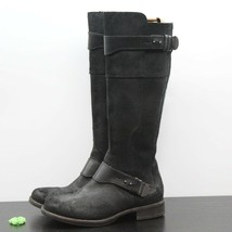UGG Australia Dayle Women's Distressed Black Leather Tall Motorcycle Boots Sz 6 - $69.29