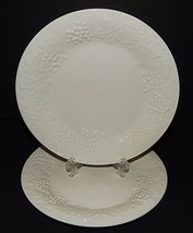 2 Gibson Four Seasons Bread Plates White Embossed Grapes Roses Fruit 162059 - $24.73