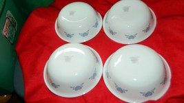 CORELLE BLUE HEARTS SOUP/CEREAL BOWLS 18 OUNCE GENTLY USED x 4 FREE USA ... - $28.04