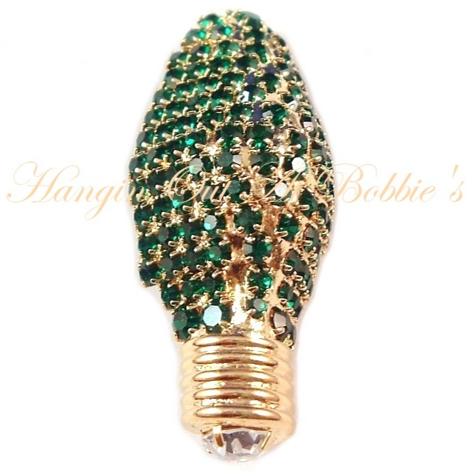 Primary image for Christmas Light Bulb Pin Brooch Green Crystal Goldtone Metal Holiday Lights