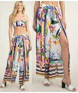 Trina Turk Treasure Cove Challis Split Leg Swimsuit Cover Up Pants M - $107.99