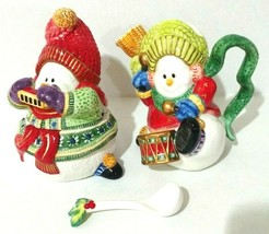 Fitz and Floyd Classics Snowman Jamboree Sugar and Creamer with Spoon - $23.03
