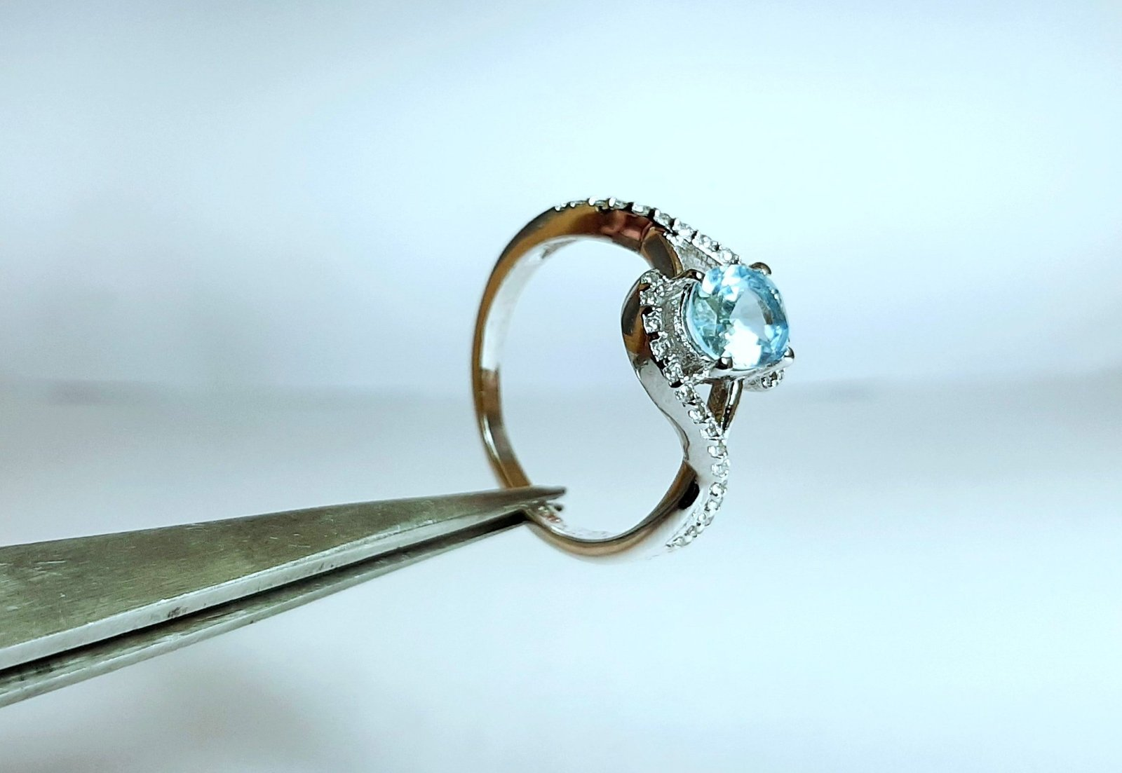 925 Sterling Silver Natural Aquamarine And Cz Gemstone Artistic Design Handmade  image 5