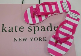 Kate Spade Ny Fifi Pink White Stripe Nassau Bow Flip Flops Sandal Flats 5 M New - $26.99