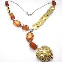 Necklace Silver 925, Agate Orange, Ovals Satin, Heart Convex Perforated image 1