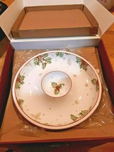 Lenox Treasured Traditions Holly Chip and Dip Bowl Serving Piece With Berries  - $49.49