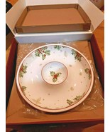Lenox Treasured Traditions Holly Chip and Dip Bowl Serving Piece With Be... - $49.49