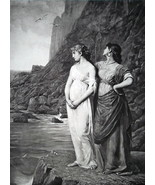 GREEK MAIDENS on Island of Chios Mourn Absent Lover - 1888 Fine Antique ... - $21.60