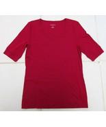 TALBOTS V-NECK SHORT SLEEVE KNIT SHIRT 100% COTTON RED WOMEN'S XS NEW - $24.88