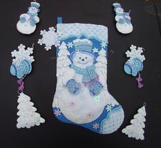 Finished Ornament Set Bucilla Snowflake Snowman Felt Completed Circa 2007 - Kit - $67.99