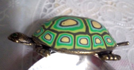 Vintage Unique Dimensional Turtle Pin Brooch Ye... - $22.50