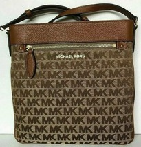 New Michael Kors Connie Large NS Crossbody Bag Jacquard Beige / Ebony - $79.00