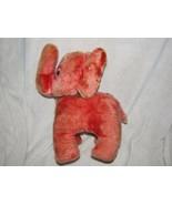 "Vintage Red/Pink/Salmon/Orange Stuffed Plush Elephant Carnival Prize 12"" - $59.39"