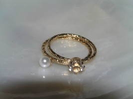 Estate Lot of 2 Thin Goldtone Tubular with Faux Pearl & Clear Rhinestone... - $11.02