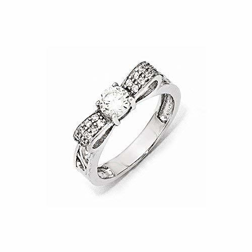 Primary image for Sterling Silver CZ Bow Ring , Size: 8