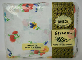 Vintage NIP Stevens Utica Twin Fitted Sheet Percale Cotton Polyester Flo... - $18.81
